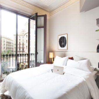 DestinationBCN Room No1 interior and balcony in Barcelona