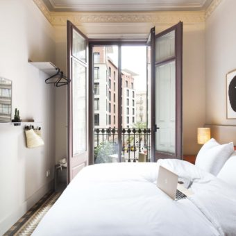 Room No1 interior and balcony in Barcelona